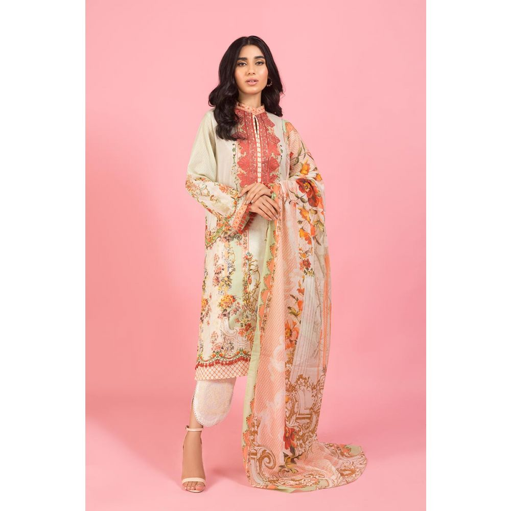 Gul Ahmed Light Brown Embroidery Dress