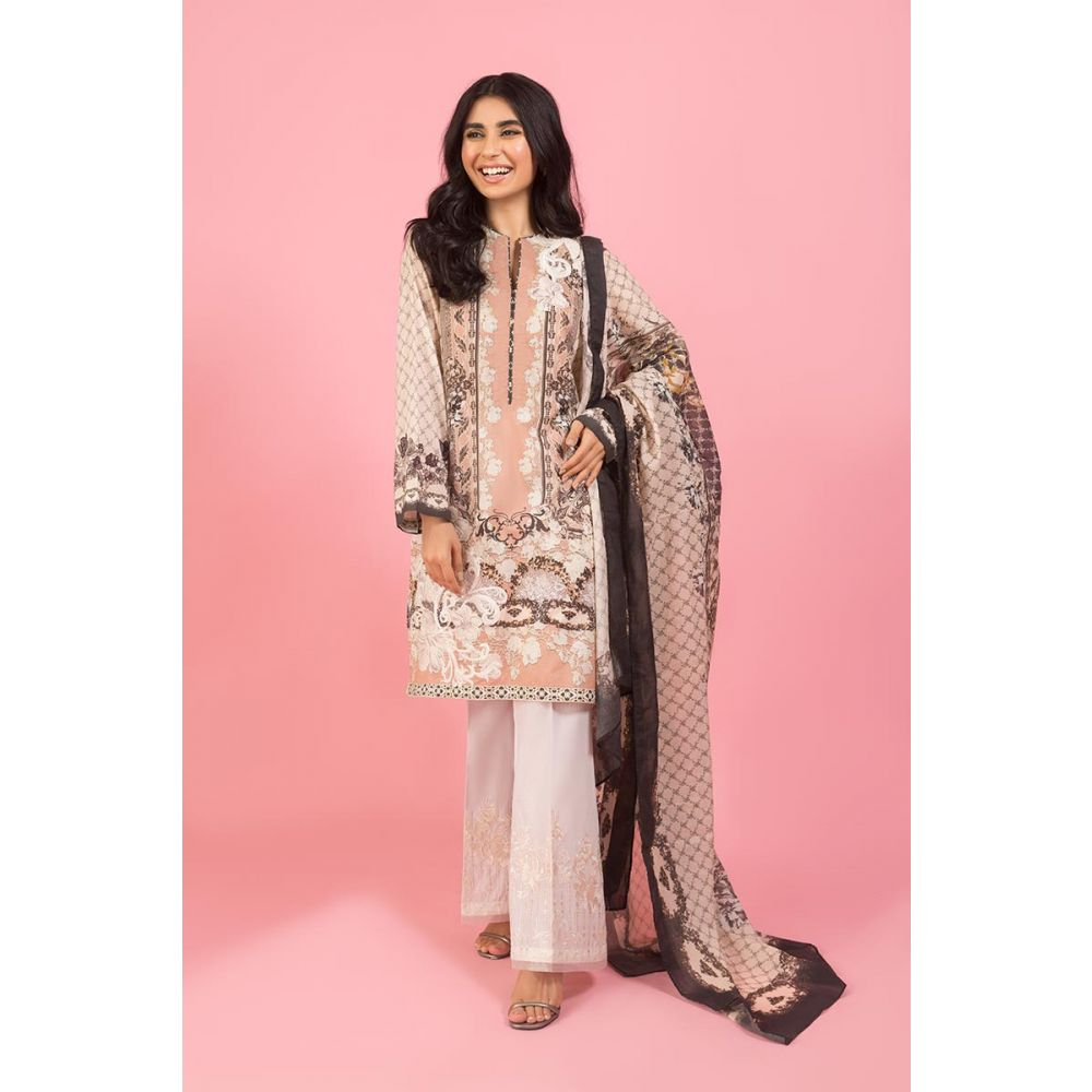 Gul Ahmed Brown Embroidery Dress