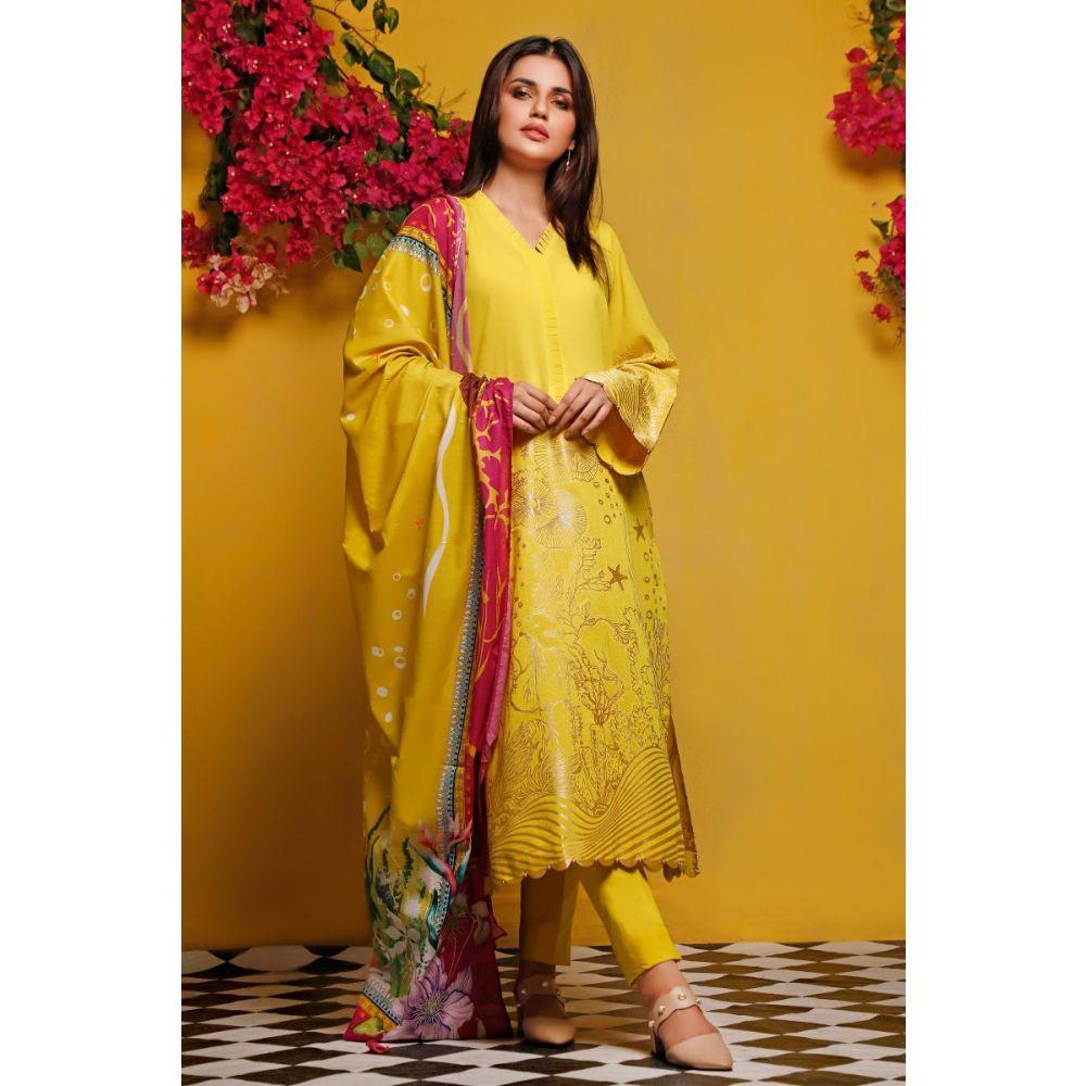 Gul Ahmed Yellow Dress